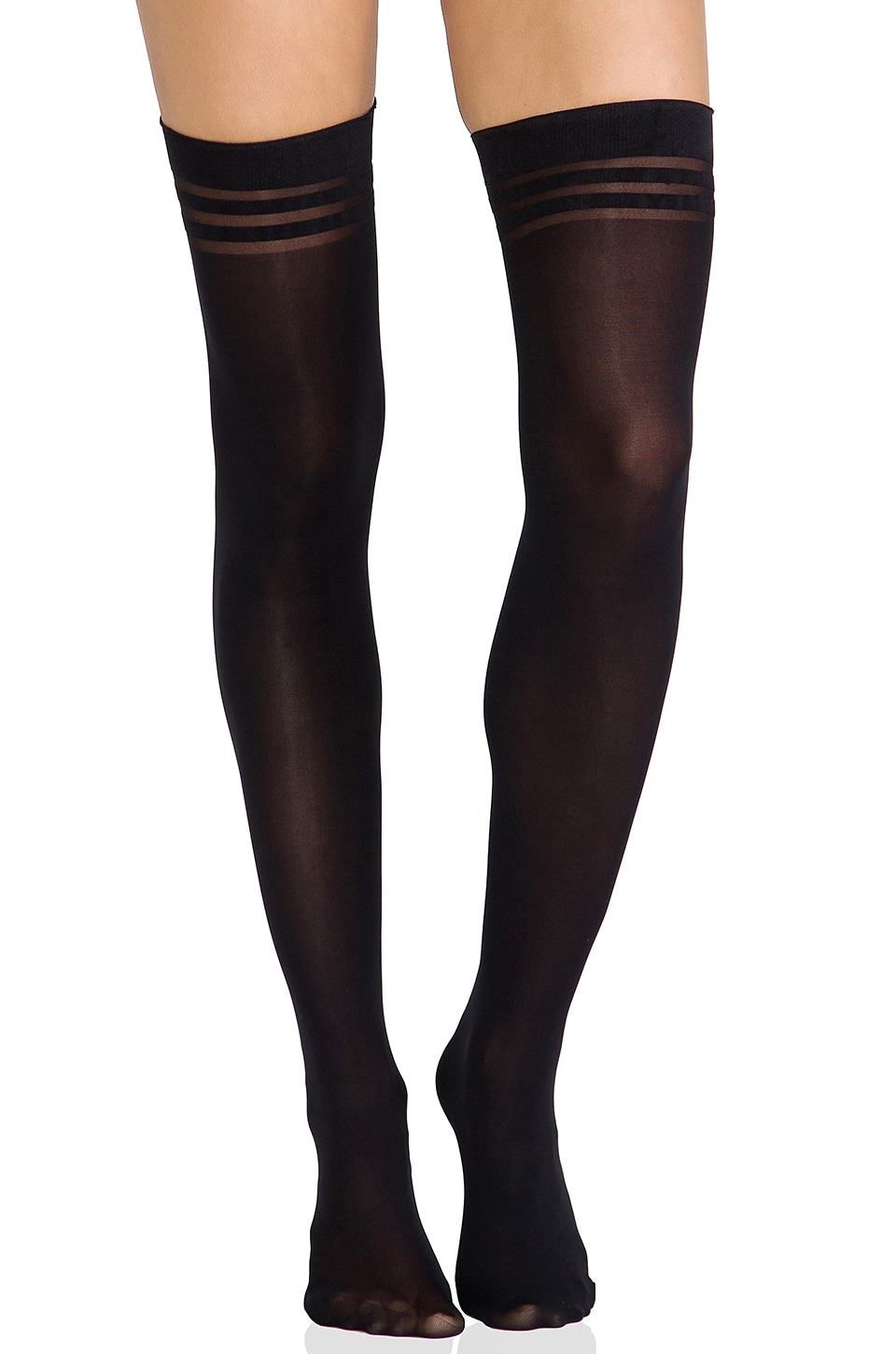 Pretty Polly Super Lovely Basics Opaque Thigh High Tights in Black