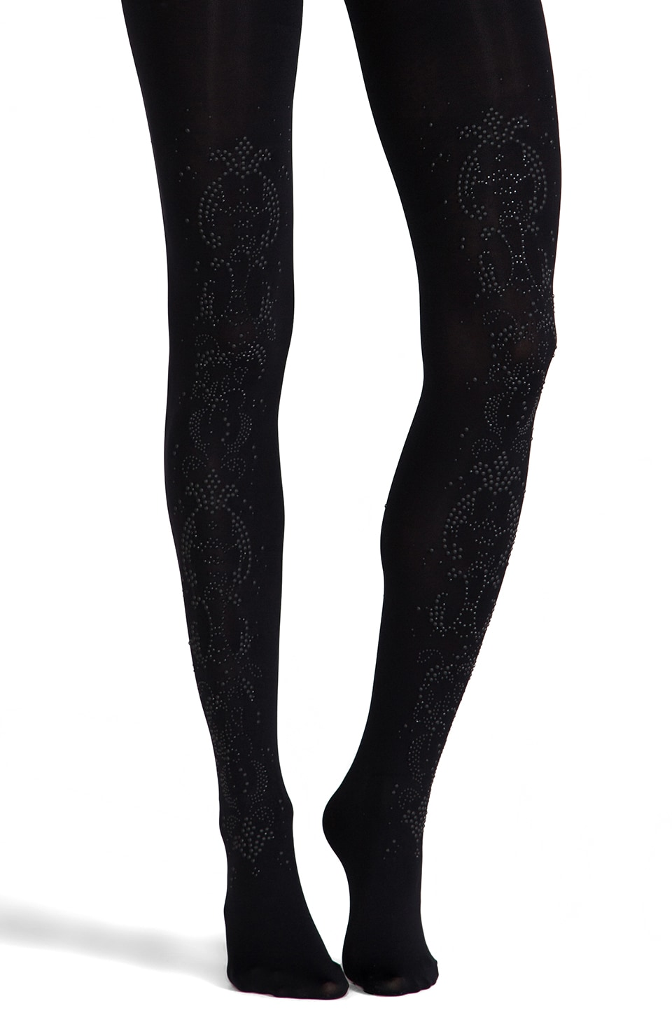 Pretty Polly Show Stoppers All Over Baroque Tights in Black/Black