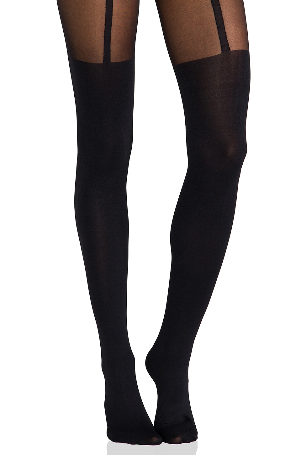 Pretty Polly Suspender Tights in Black