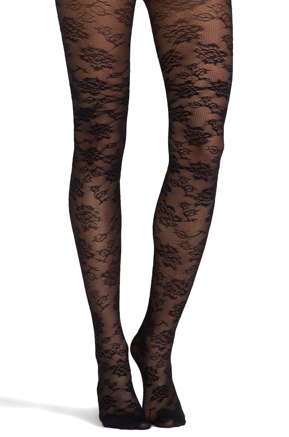 Pretty Polly Semi Sheer Lace Tights in Black