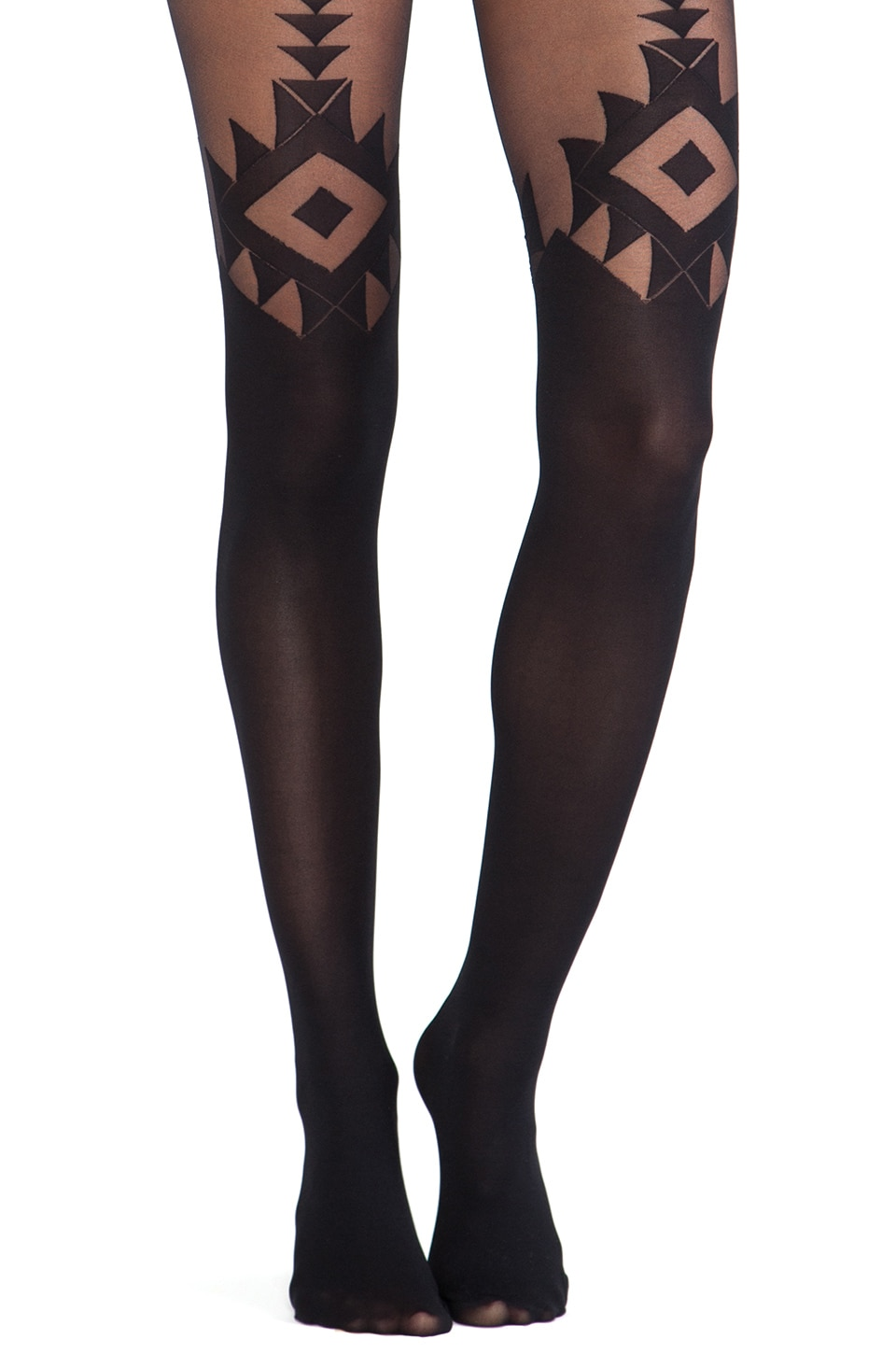 Pretty Polly Ethno-Geo Tights in Black