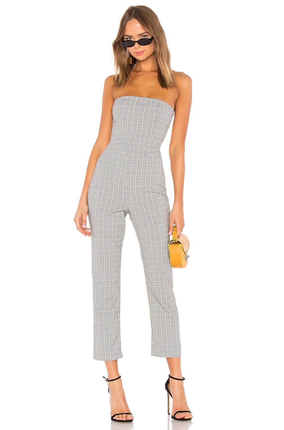 Privacy Please Autumn Jumpsuit in Black & Yellow Plaid