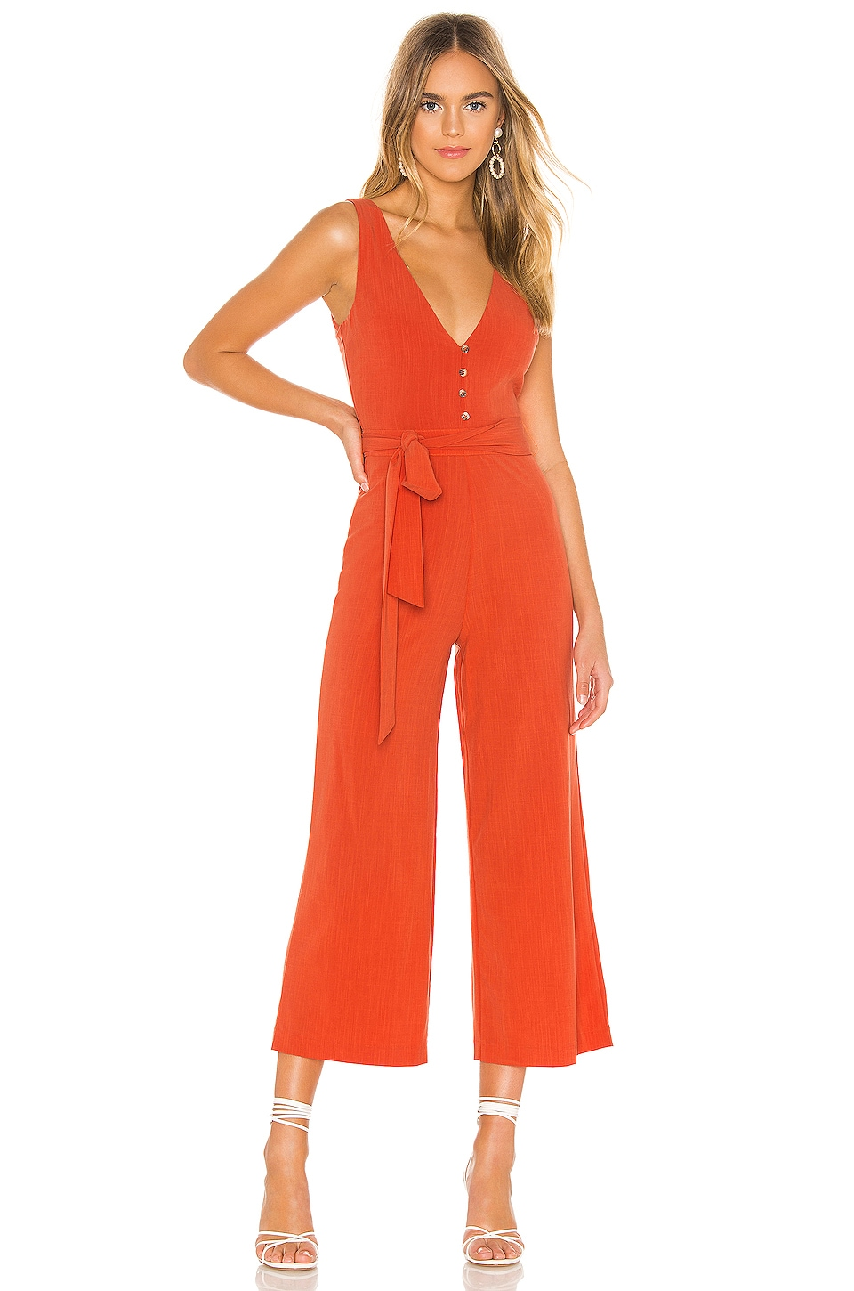 Privacy Please Melodie Jumpsuit in Red Orange