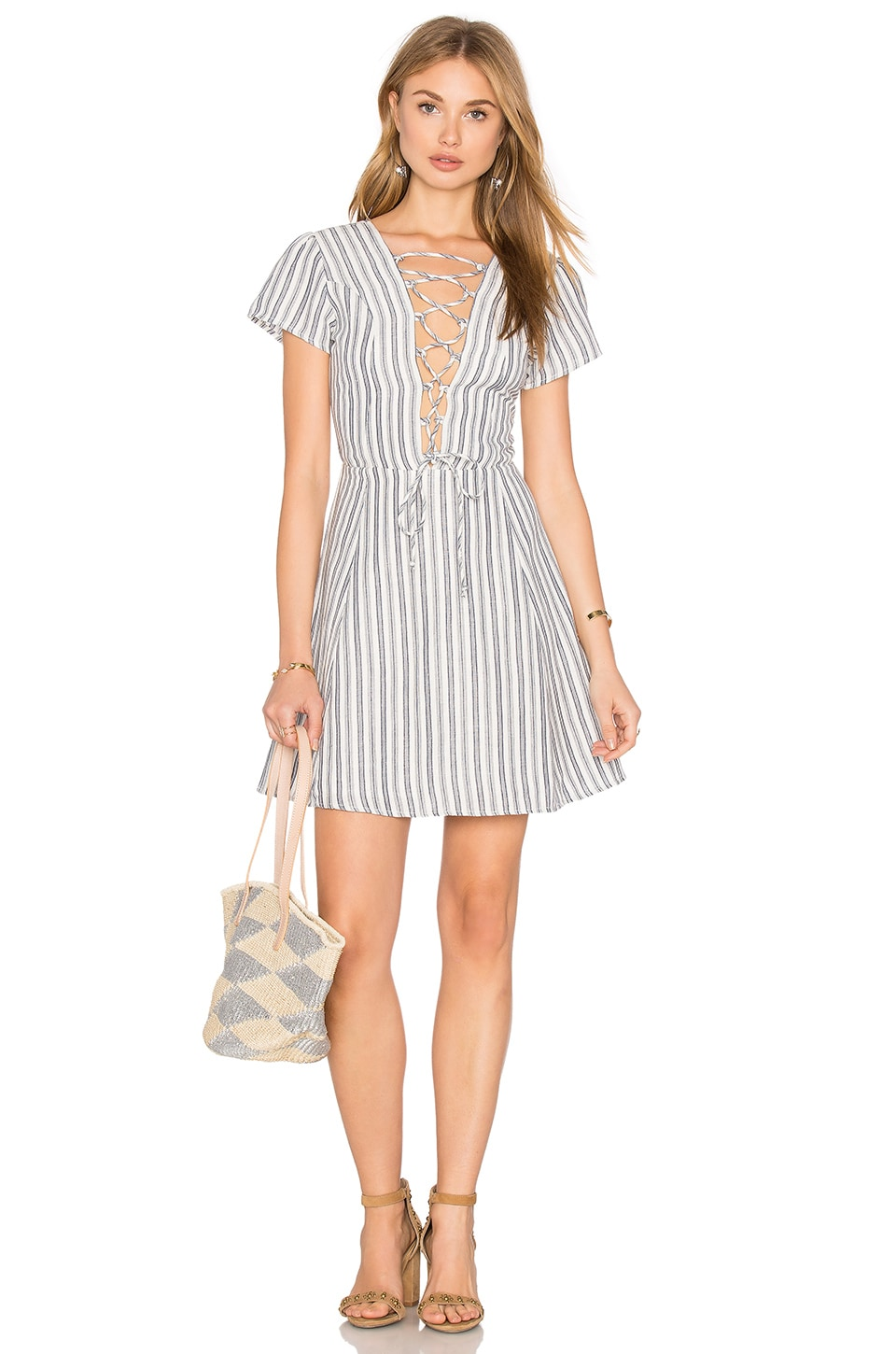 Privacy Please Phillips Dress in Navy Stripe