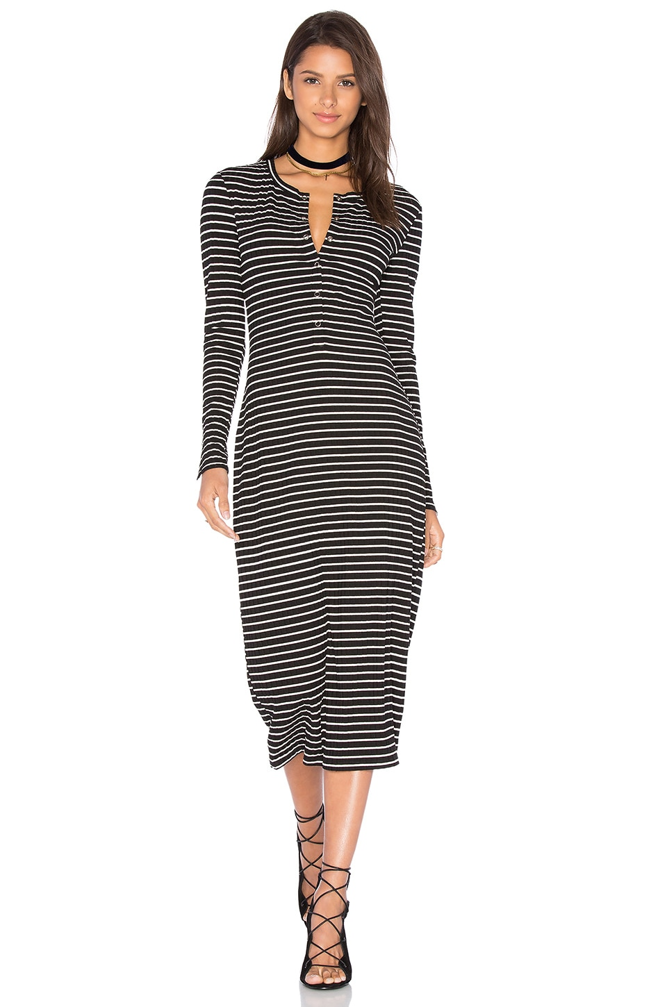 Privacy Please Bolton Dress in Black Stripe