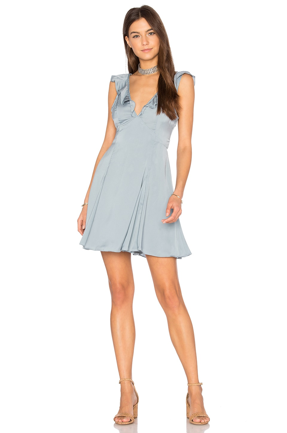 Privacy Please Polk Dress in Ash Blue