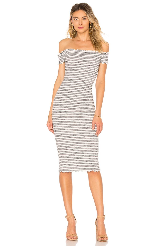 Privacy Please Caperton Dress in Grey Stripe
