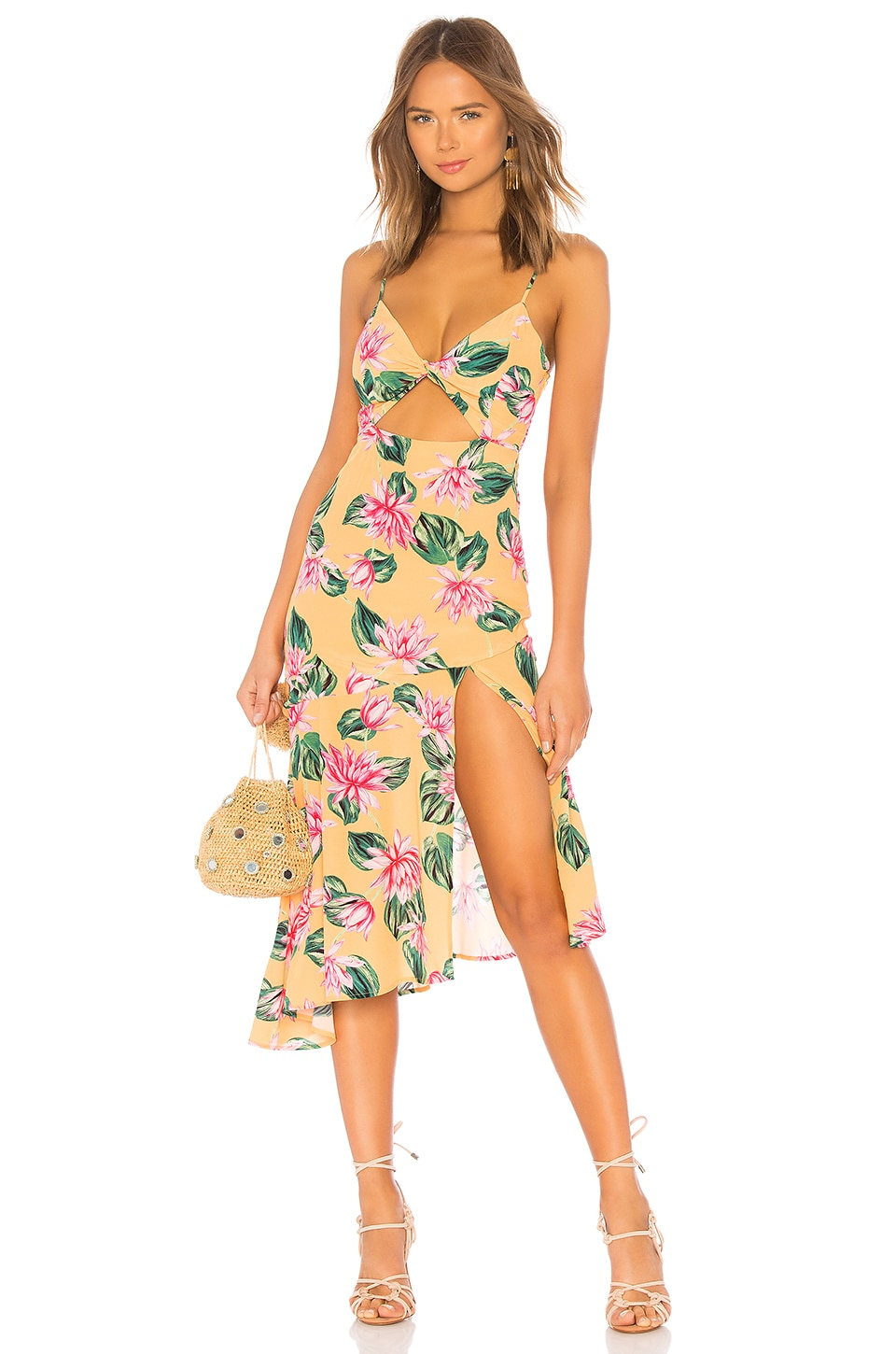 Privacy Please Chambord Midi Dress in Orange Lindsay Floral