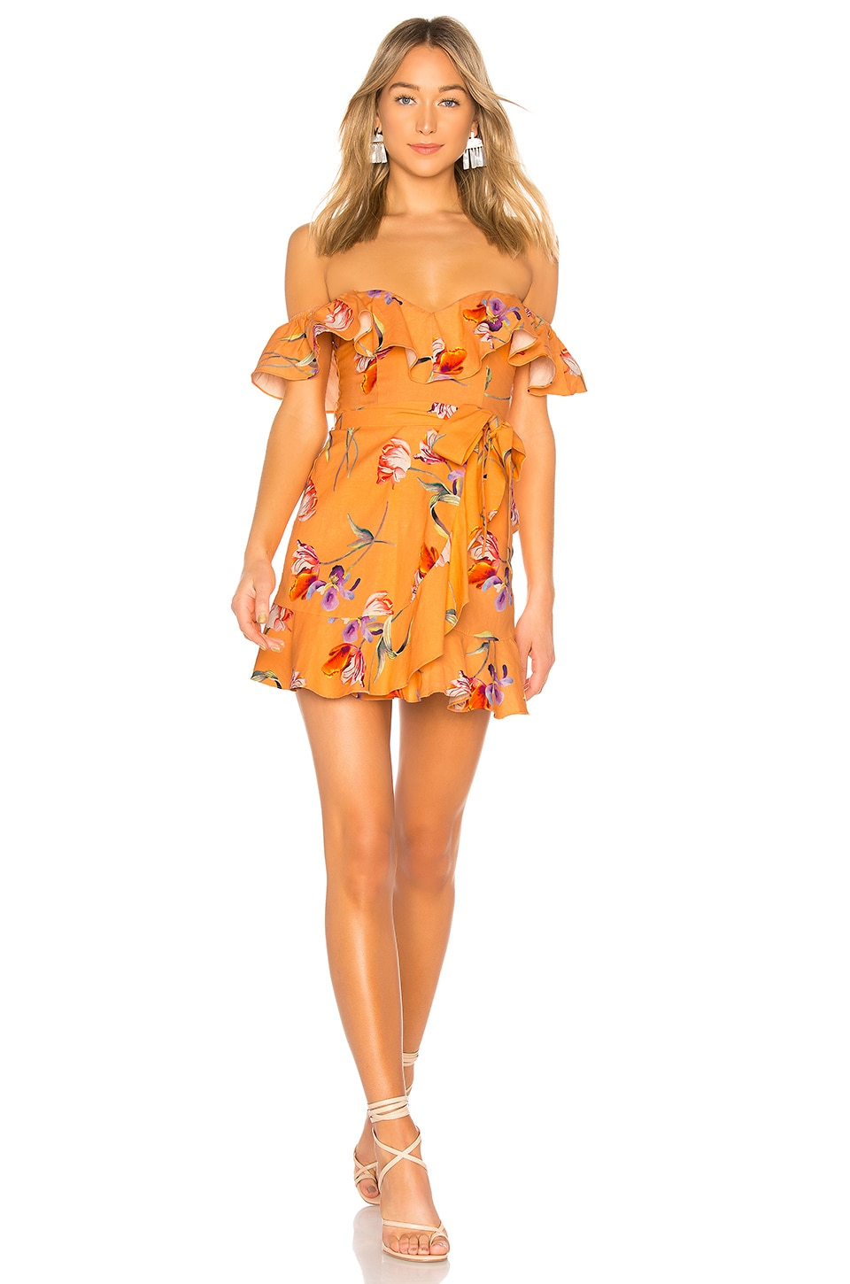 Privacy Please Bellview Mini Dress in Orange Cassie Floral