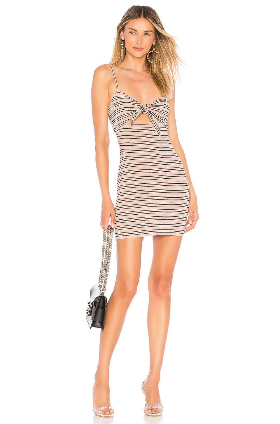 Privacy Please Hibiscus Mini Dress in Mauve Stripe