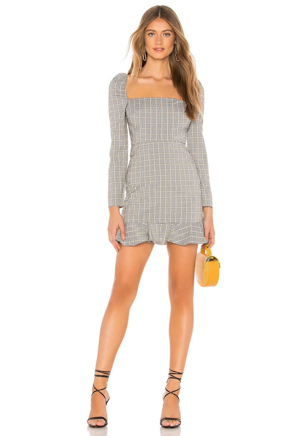 Privacy Please Jay Mini Dress in Black & Yellow Plaid