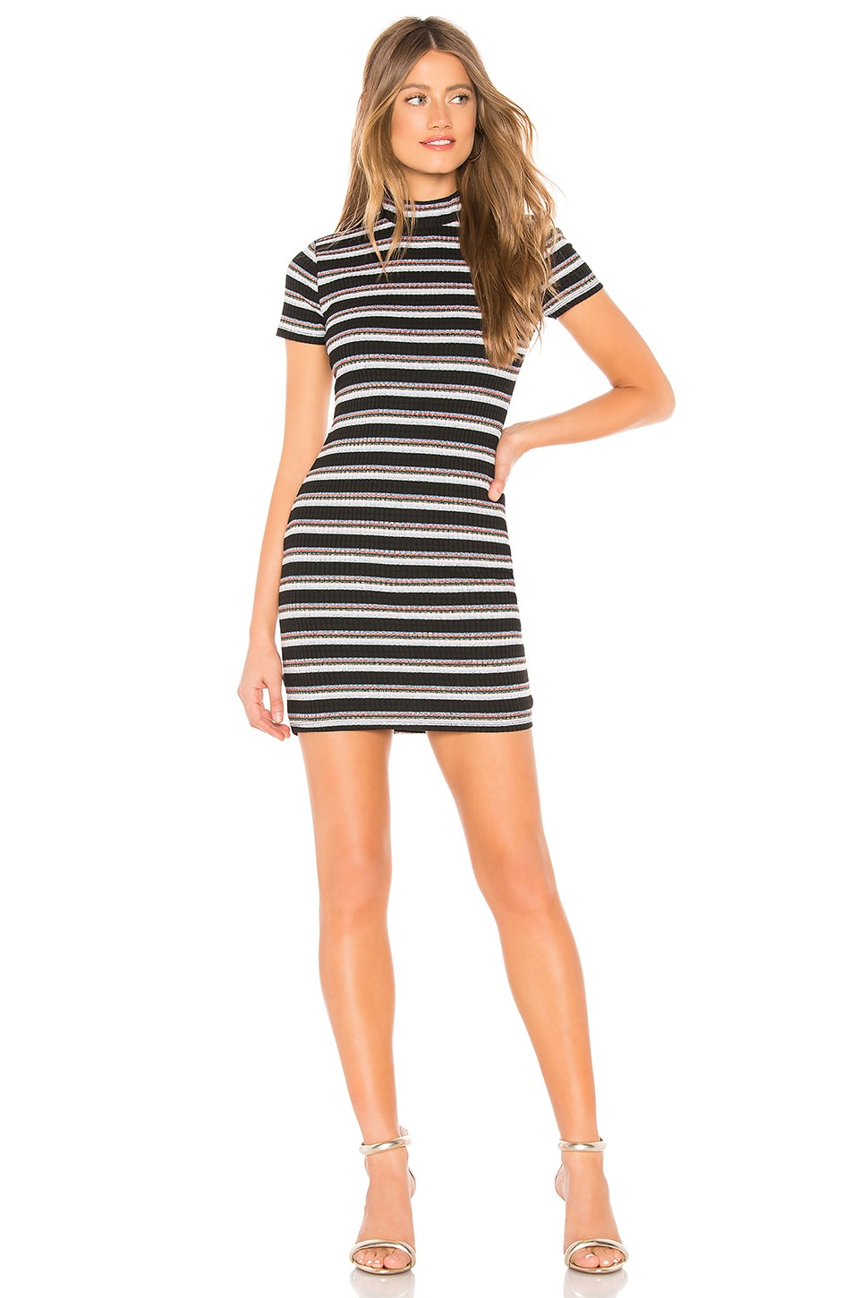 Privacy Please Camden Mini Dress in Metallic Stripe