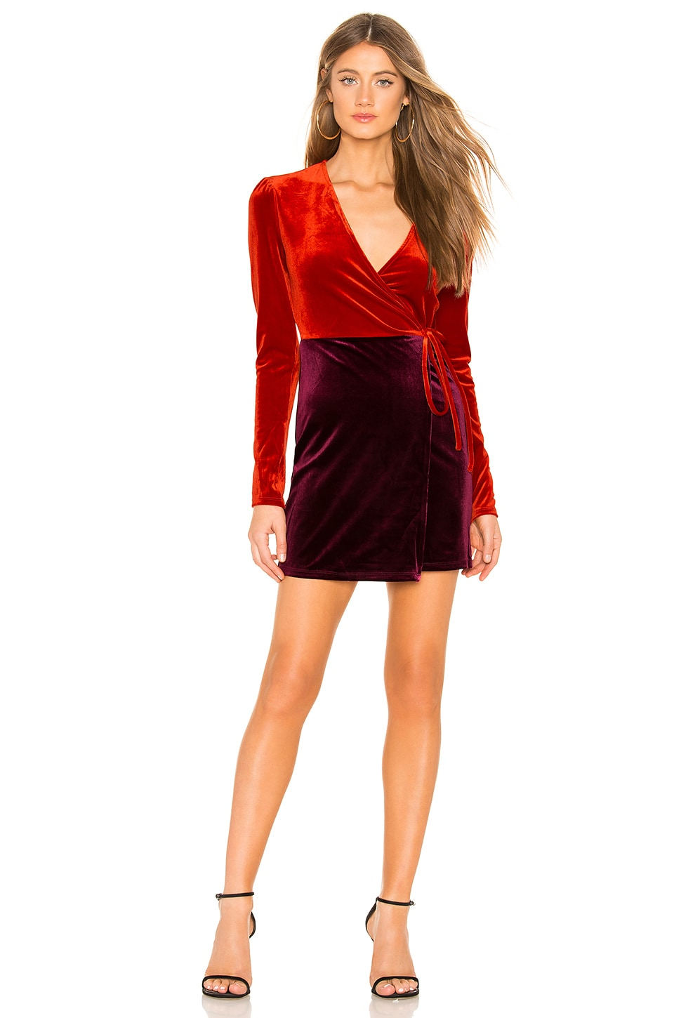 Privacy Please Sadie Mini Dress in Red & Purple