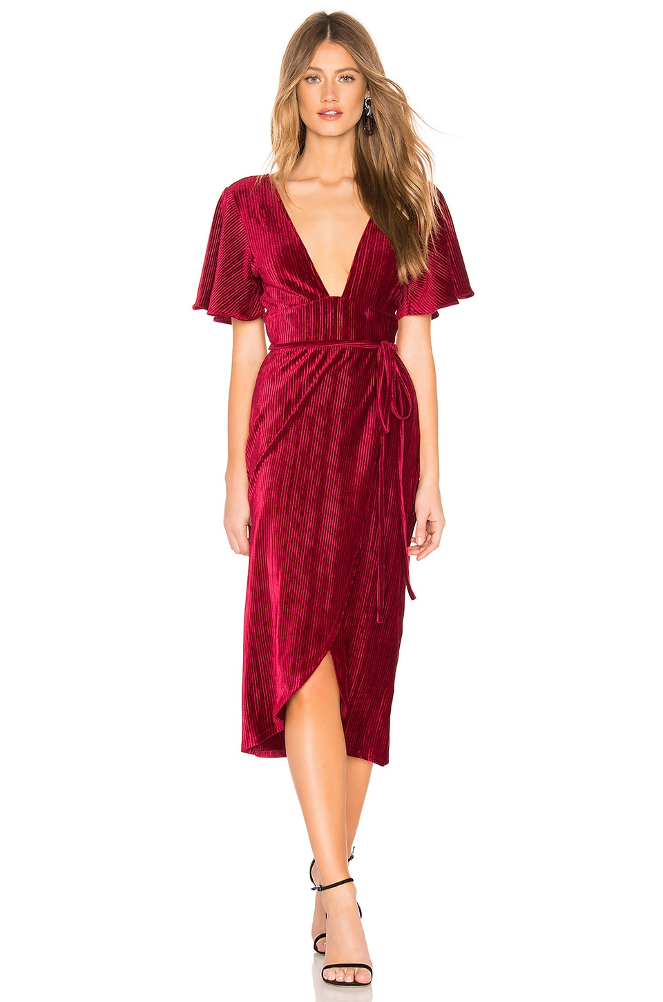Privacy Please Moore Midi Dress in Burgundy