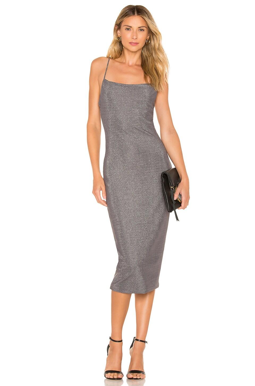 Privacy Please Sebastian Midi Dress in Platinum Grey