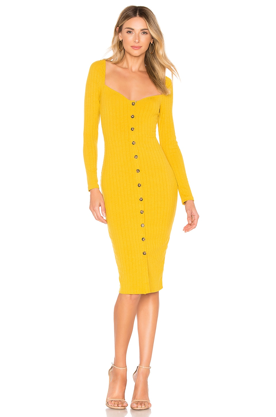 Privacy Please Hunter Midi Dress in Marigold Yellow