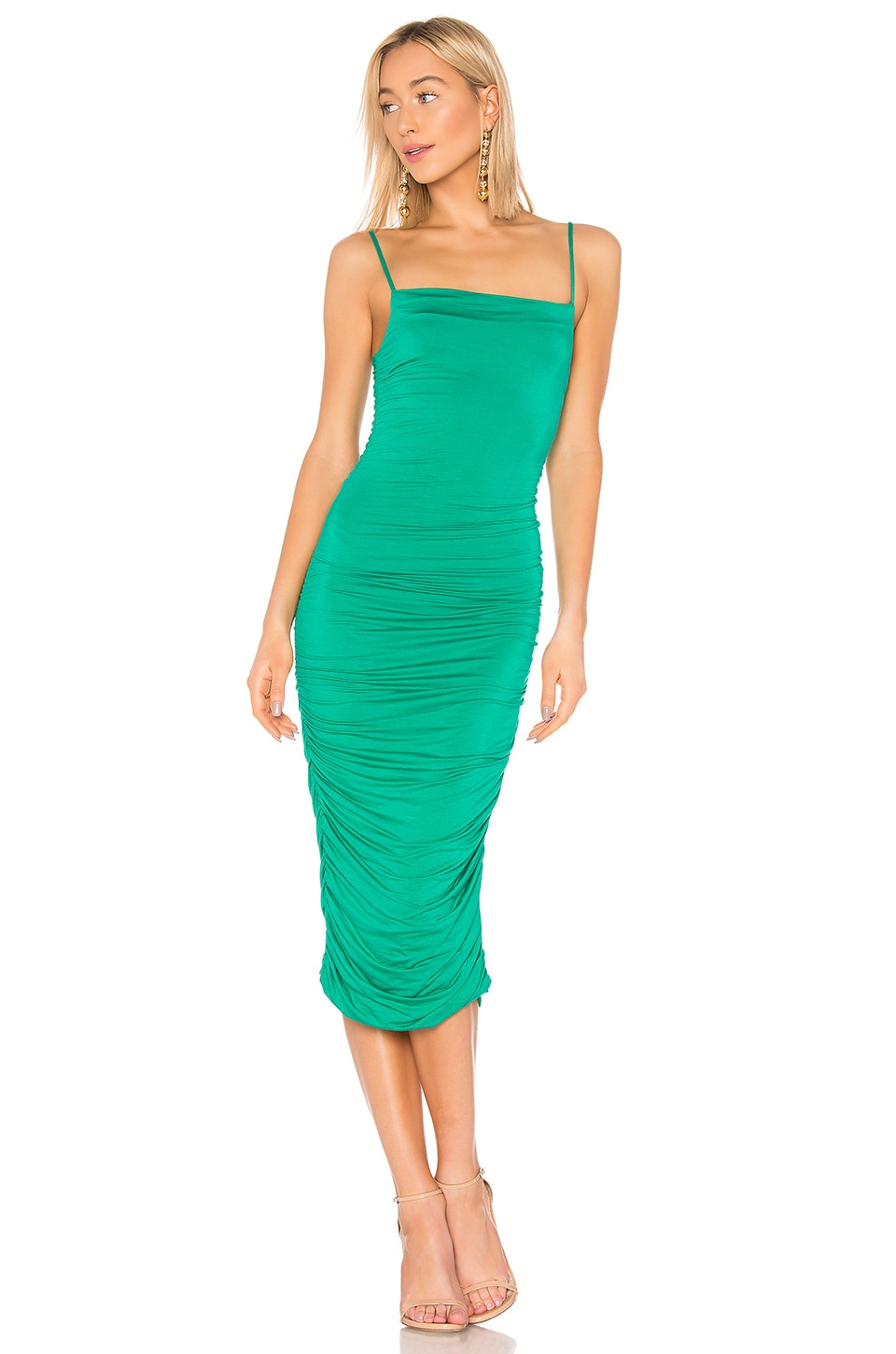Privacy Please Camille Midi Dress in Kelly Green