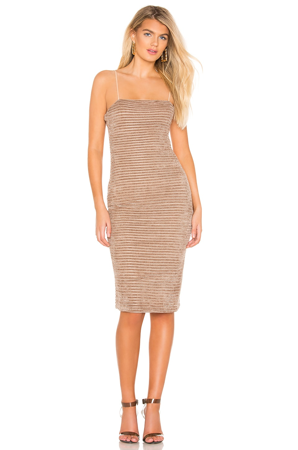 Privacy Please Catrine Midi Dress in Hazelnut