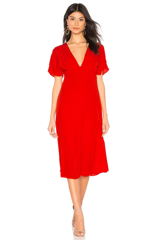 Privacy Please Samara Midi Dress in Red Orange