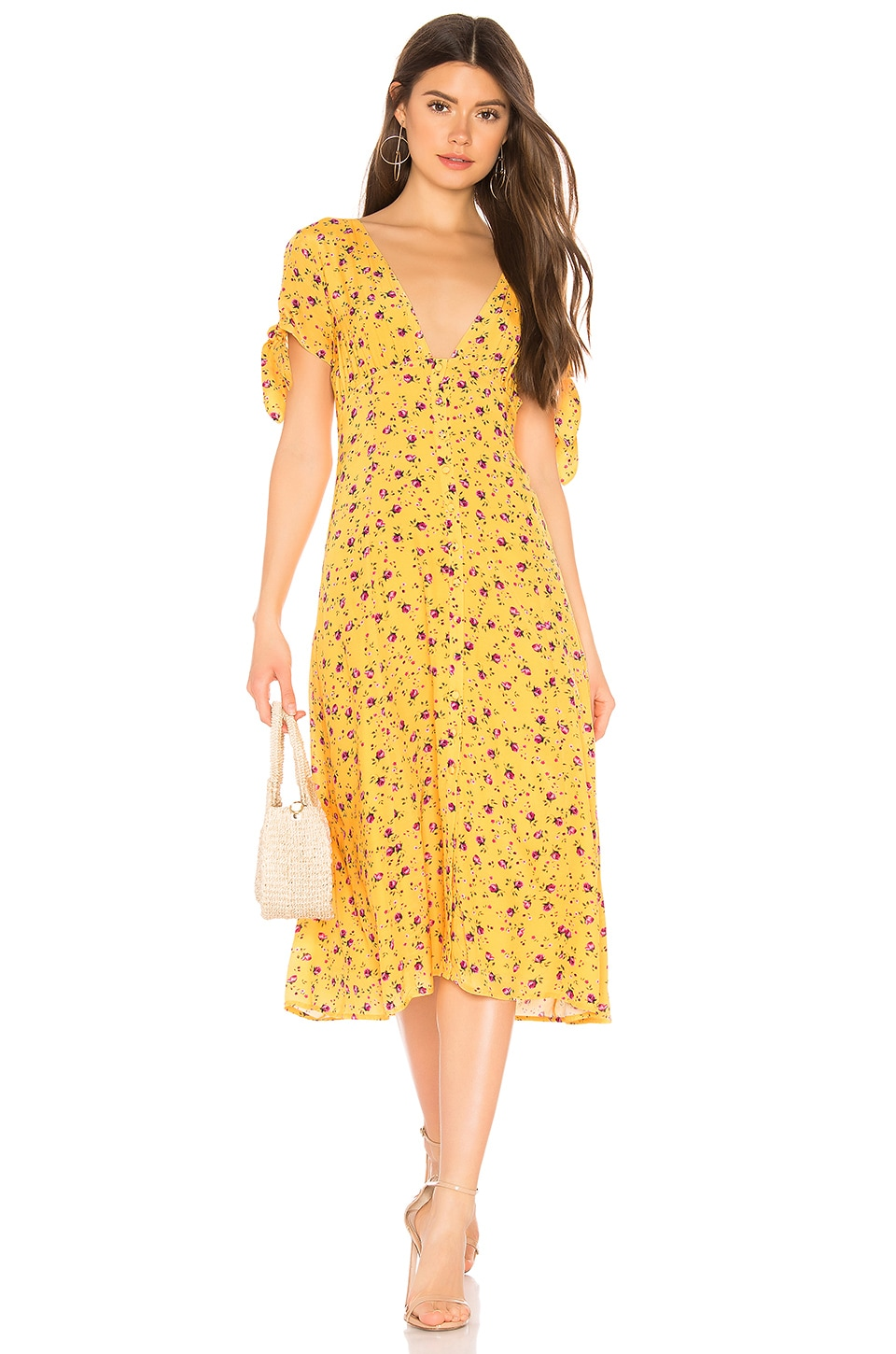 Privacy Please Hermosa Midi Dress in Yellow & Pink Floral