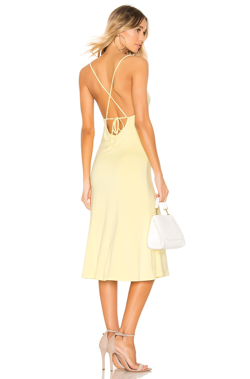 Privacy Please Christie Midi Dress in Pale Yellow