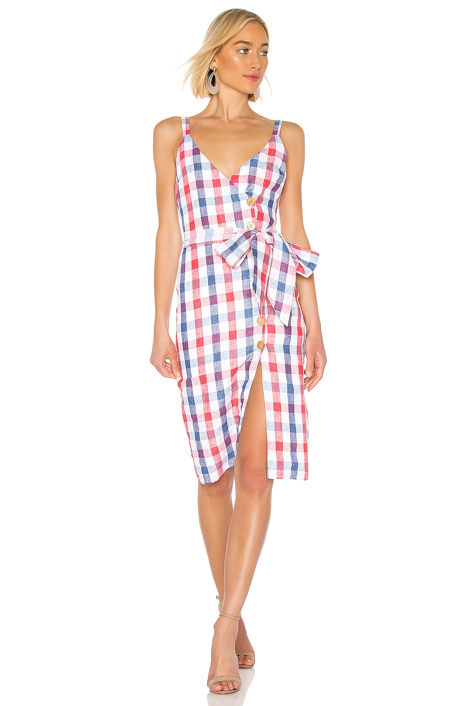 Privacy Please Marcia Midi Dress in Red & Blue Plaid