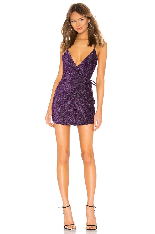 Privacy Please Sapphire Mini Dress in Purple Metallic