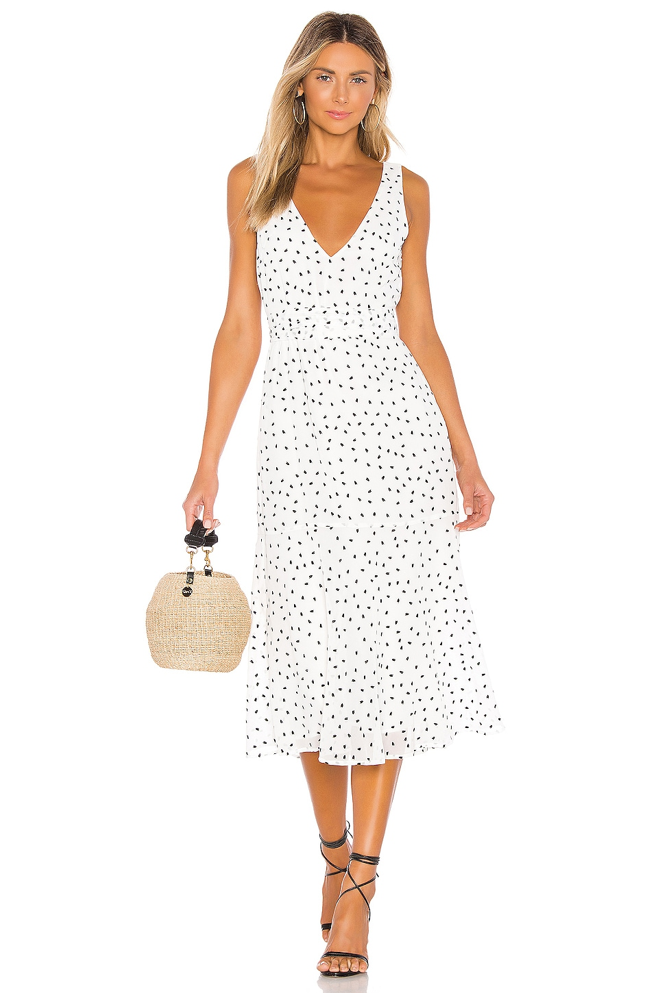 Privacy Please Melinda Midi Dress in Ivory & Black