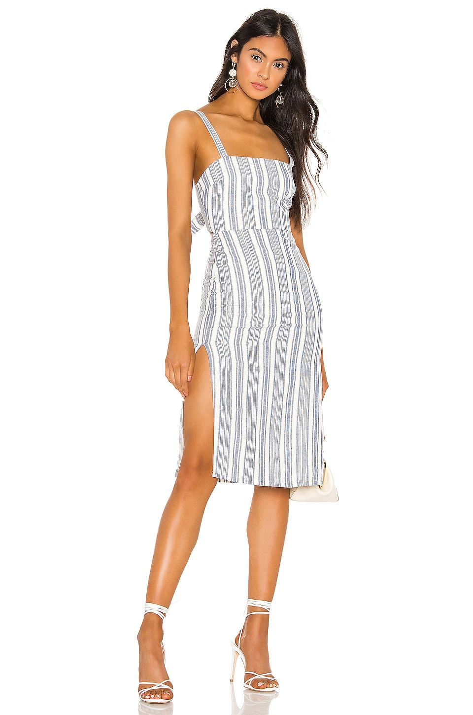 Privacy Please Josie Midi Dress in Blue Chambray Stripe