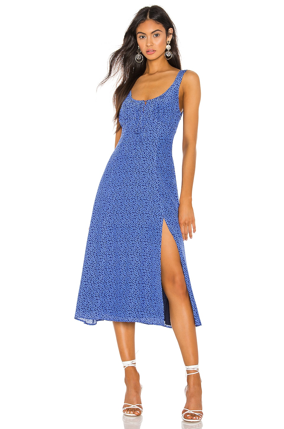 Privacy Please Maryam Midi Dress in Blue Floral