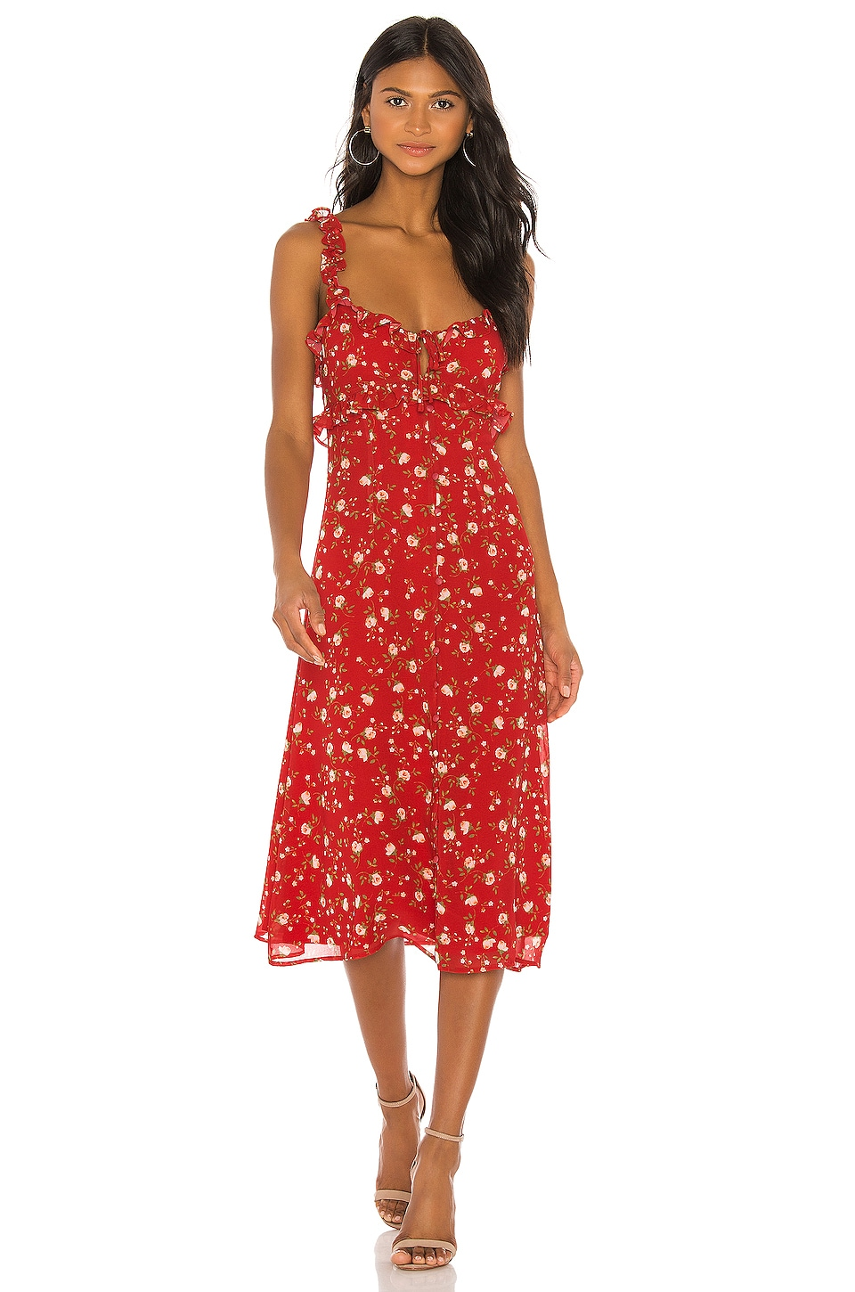 Privacy Please Isabel Midi Dress in Red Emma Floral