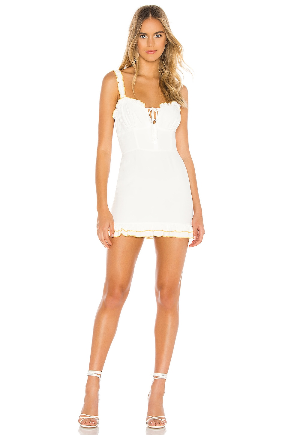 Privacy Please Jana Mini Dress in White & Yellow