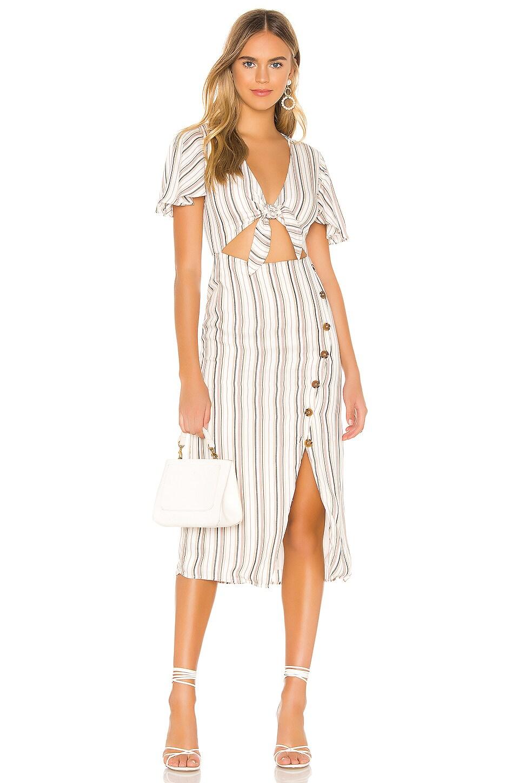 Privacy Please Rylee Midi Dress in Neutral Stripe