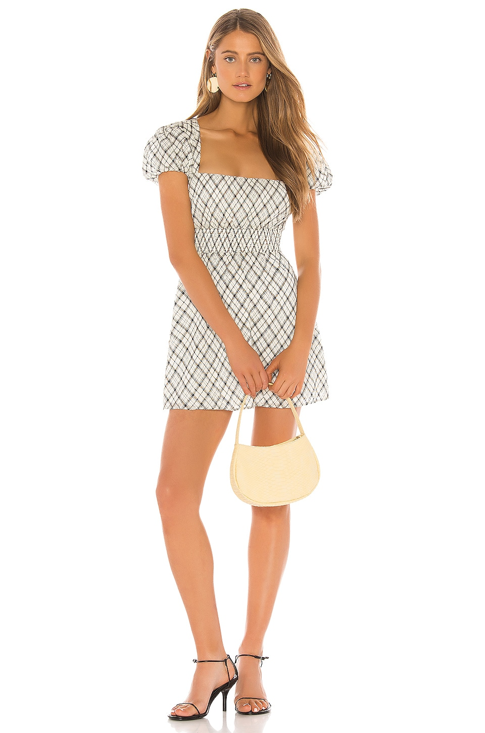 Privacy Please Bethany Dress in Ivory & Black Plaid