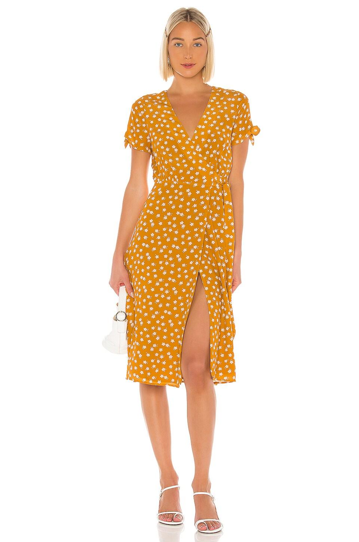 Privacy Please Rosalie Midi Dress in Gold Rebecca Floral