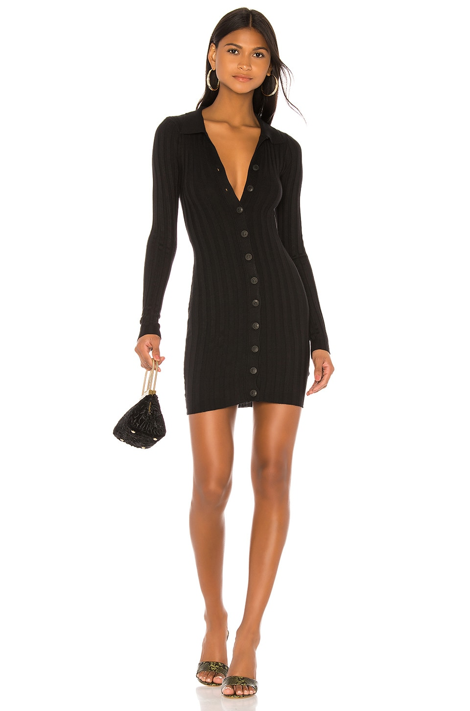 Privacy Please Jordane Button Front Dress in Black