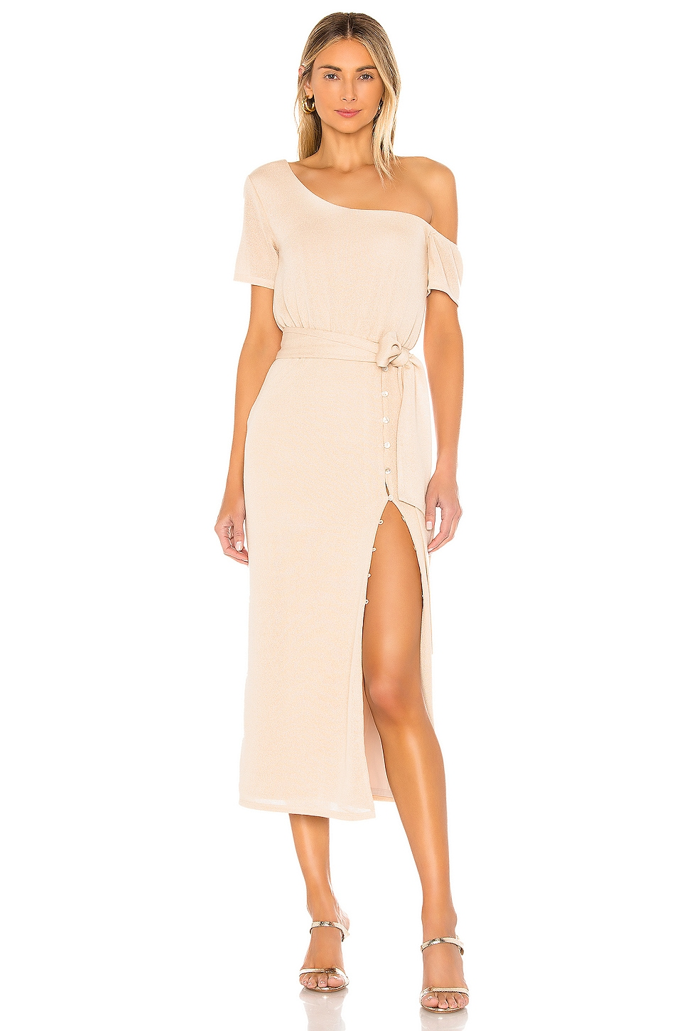 Privacy Please Eden Midi Dress in Natural Tan