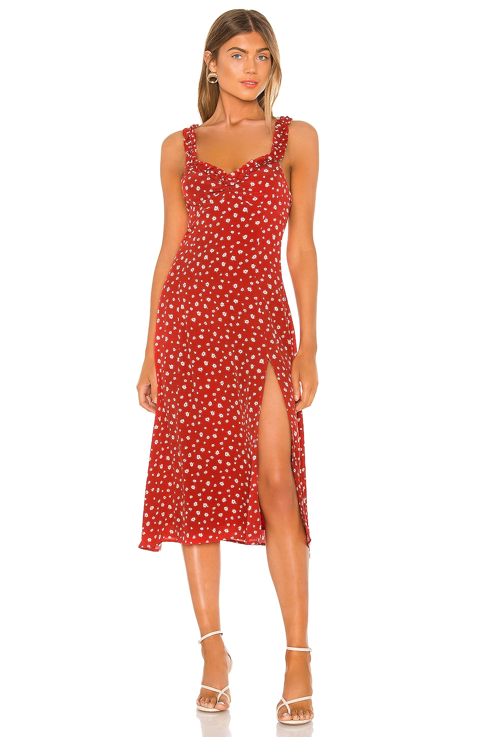 Privacy Please Mariela Midi Dress in Red Lola Floral