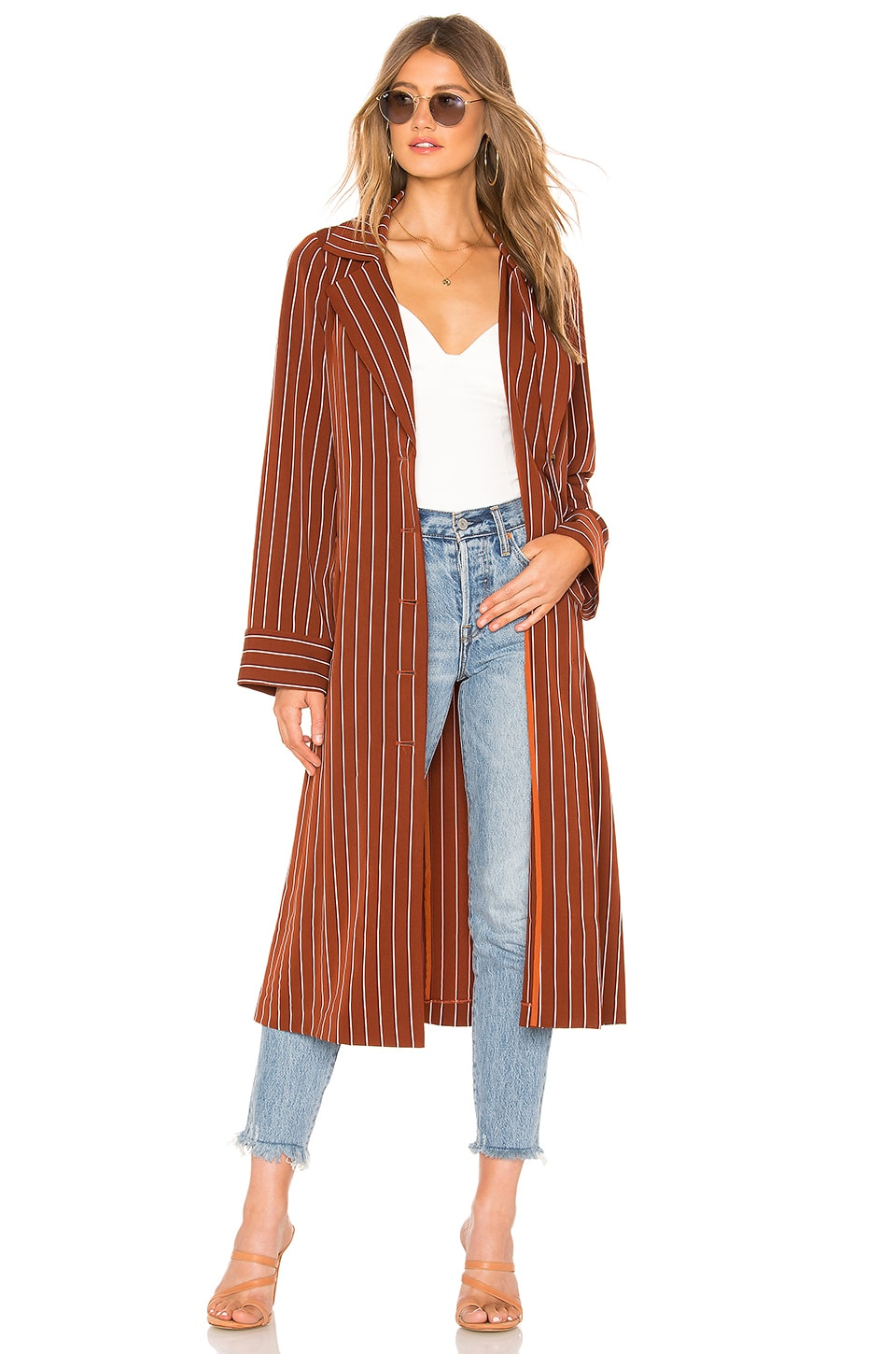Privacy Please Cassidy Trench in Tan Stripe