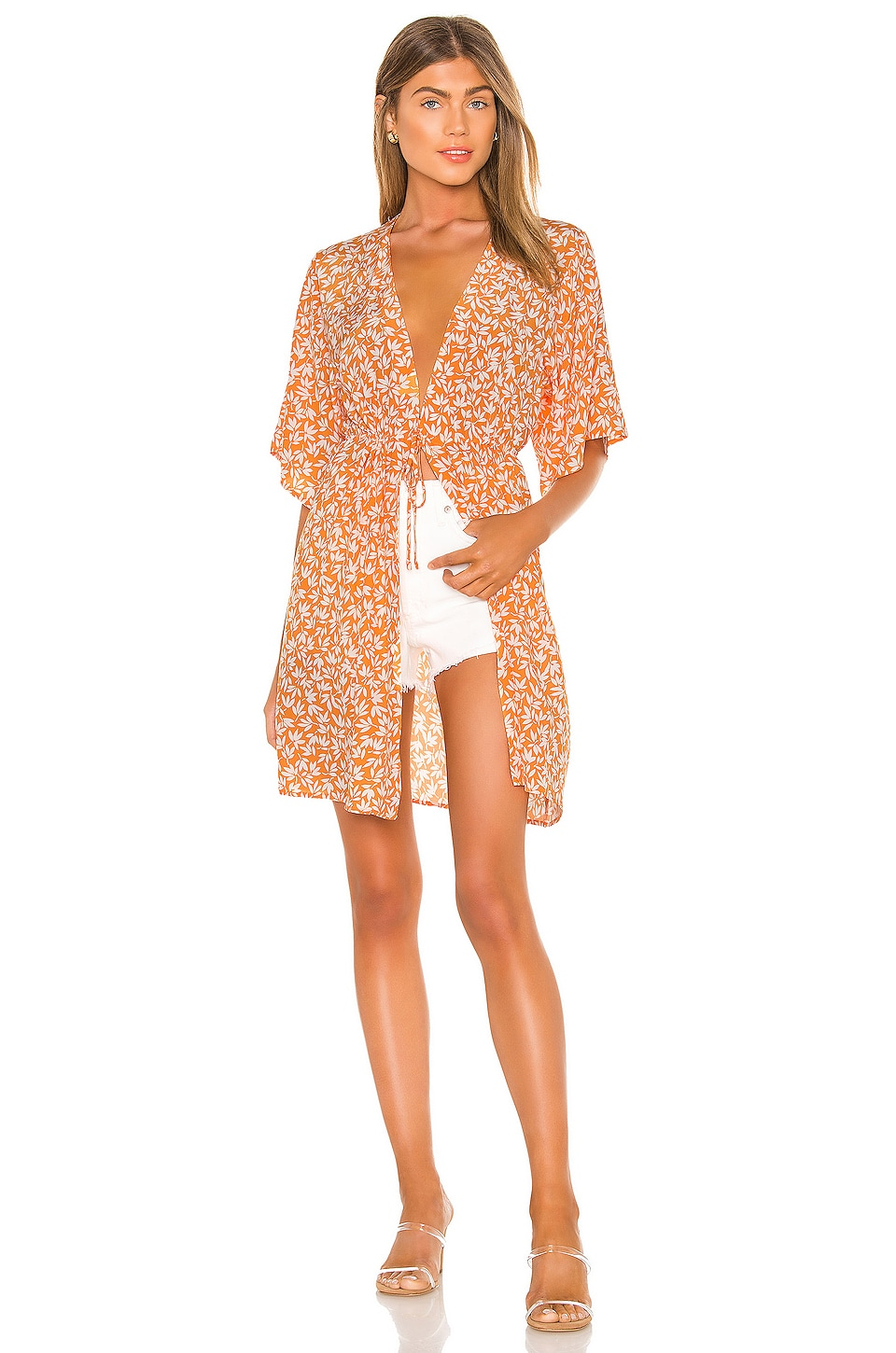 Privacy Please Isla Kimono en Orange Cabana Floral