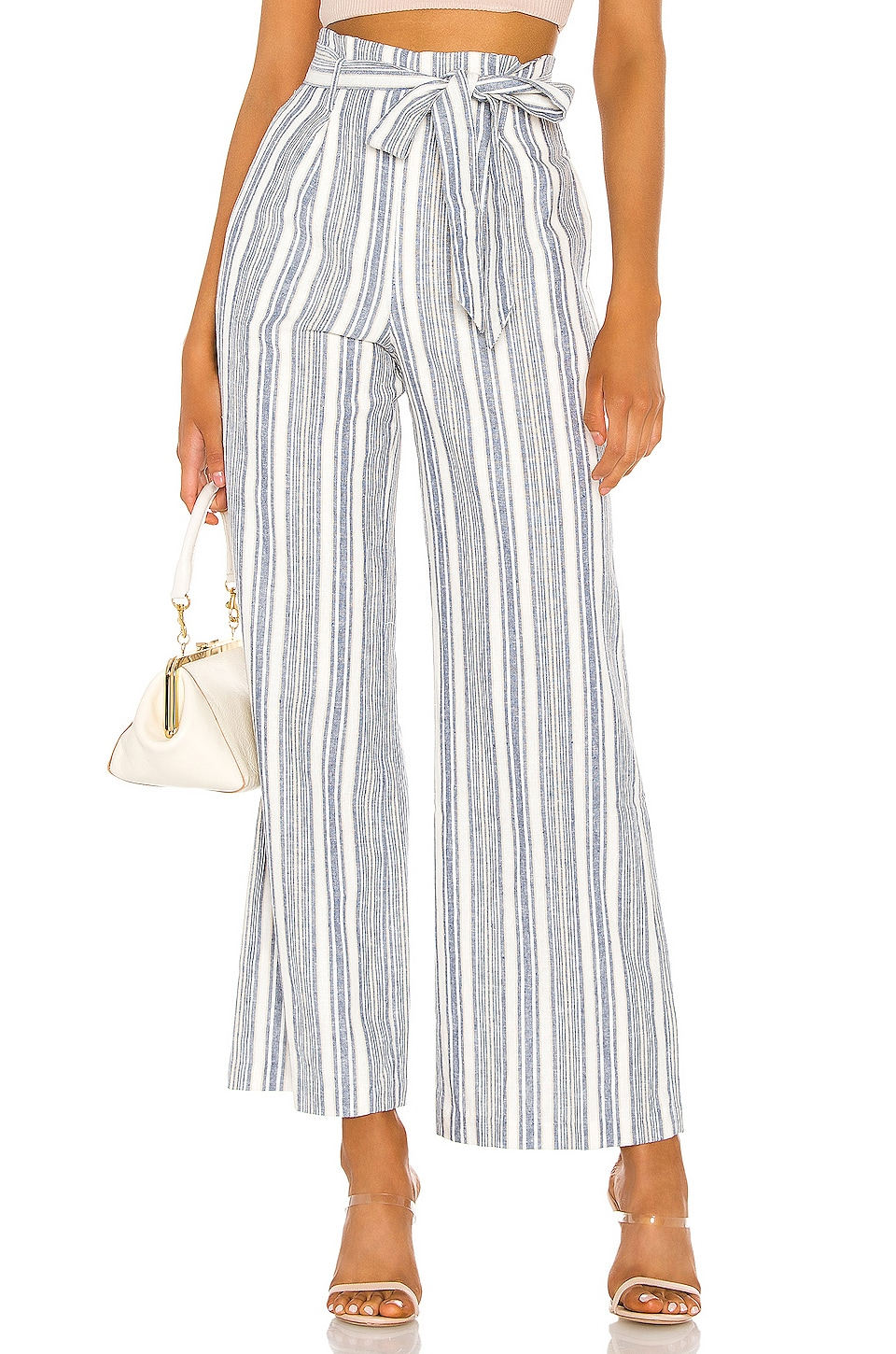 Privacy Please Jolene Pant in Blue Chambray Stripe