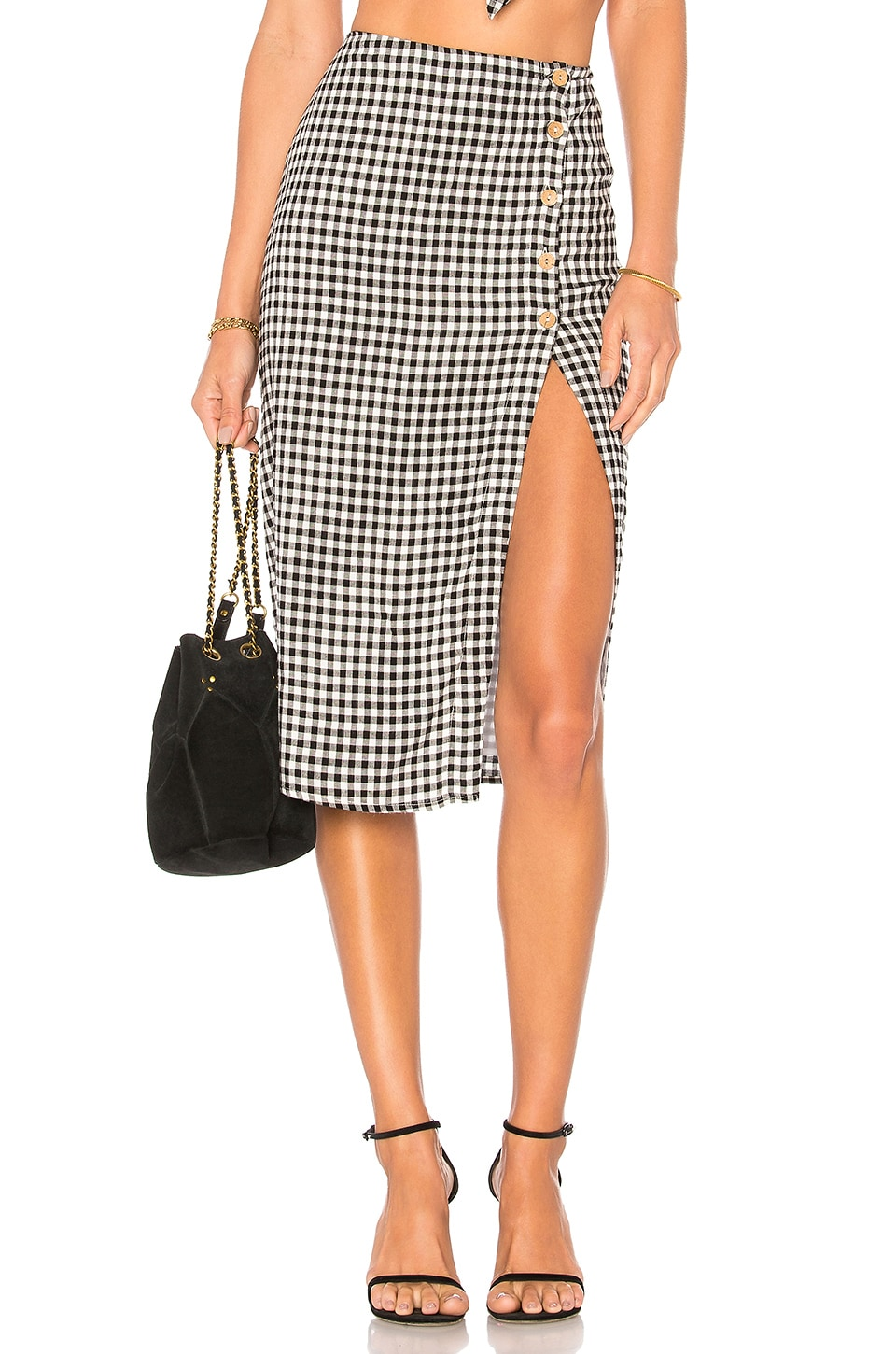 Privacy Please Burbank Skirt in Black Gingham