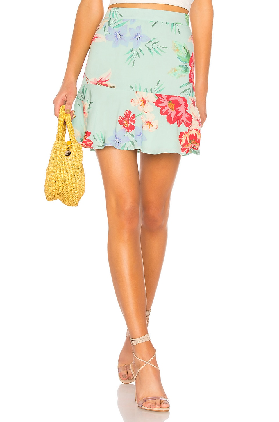 Privacy Please Bayberry Mini Skirt in Blue Aleissa Floral