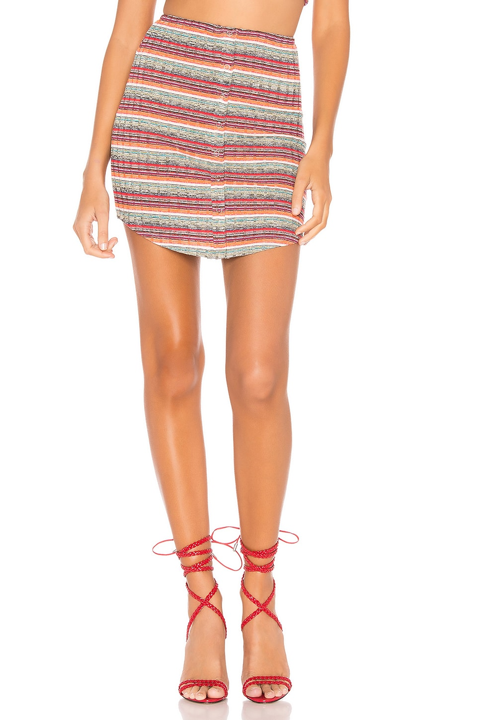 Privacy Please Hope Skirt in Neon Orange Multi