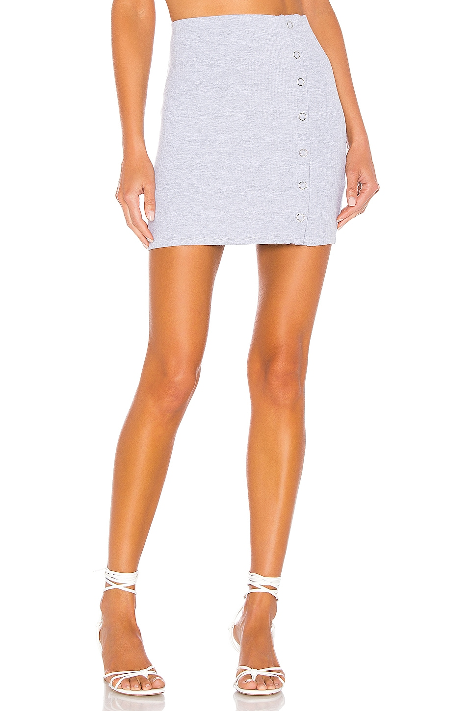 Privacy Please Genevieve Mini Skirt in Heather Grey