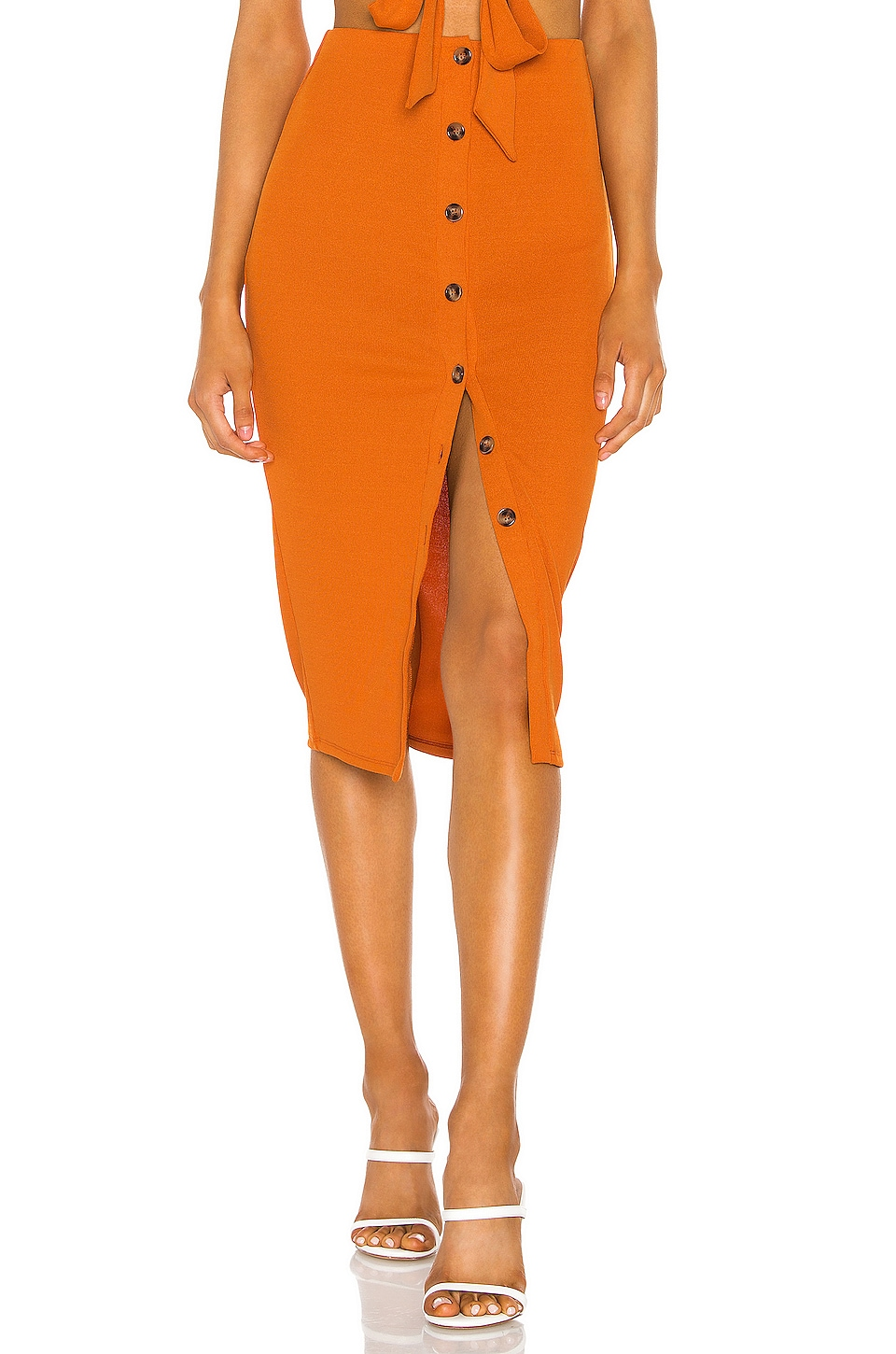 Privacy Please Augusta Midi Skirt in Moroccan Orange