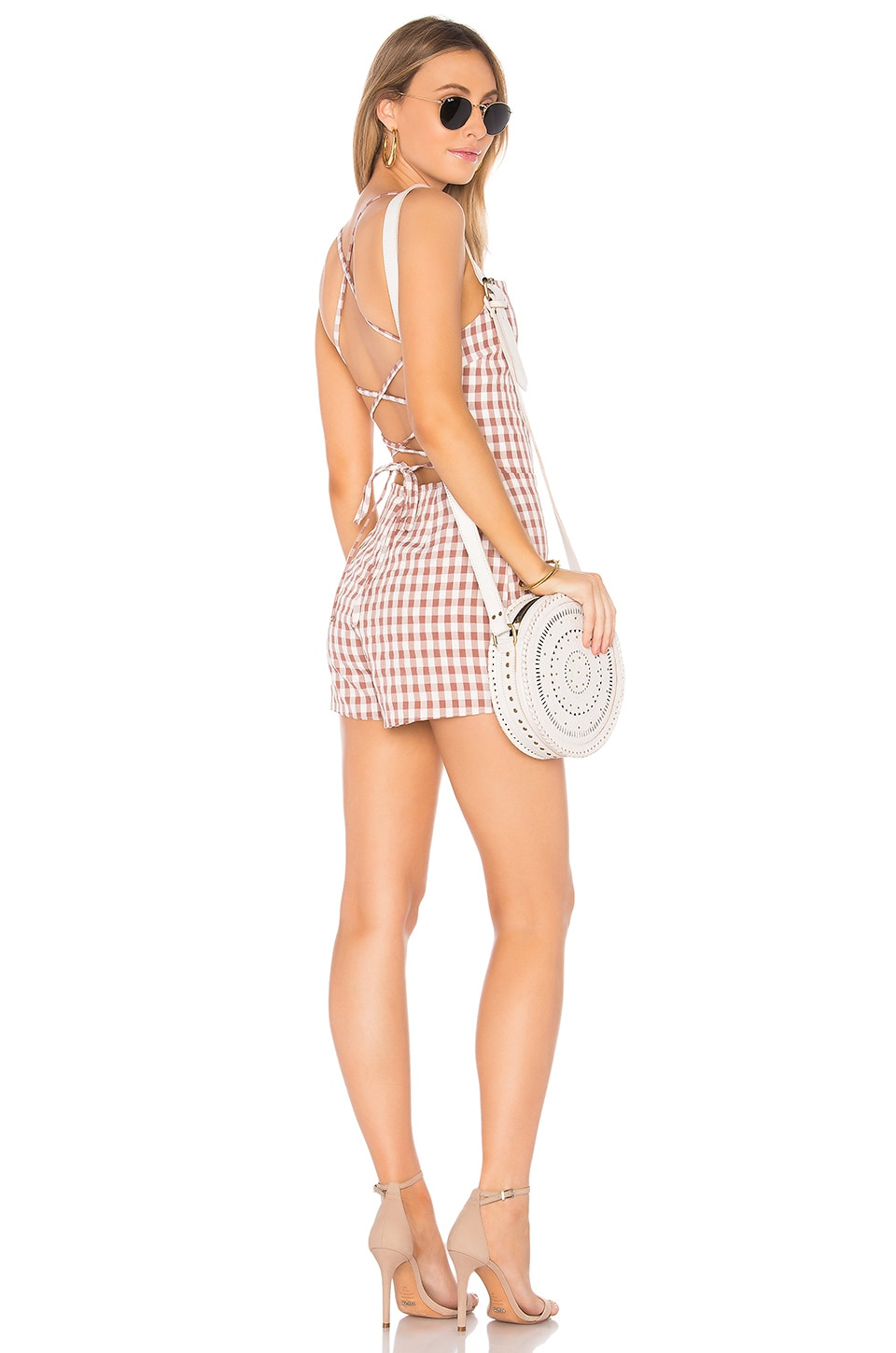 Privacy Please Feldspar Romper in Rose Gingham