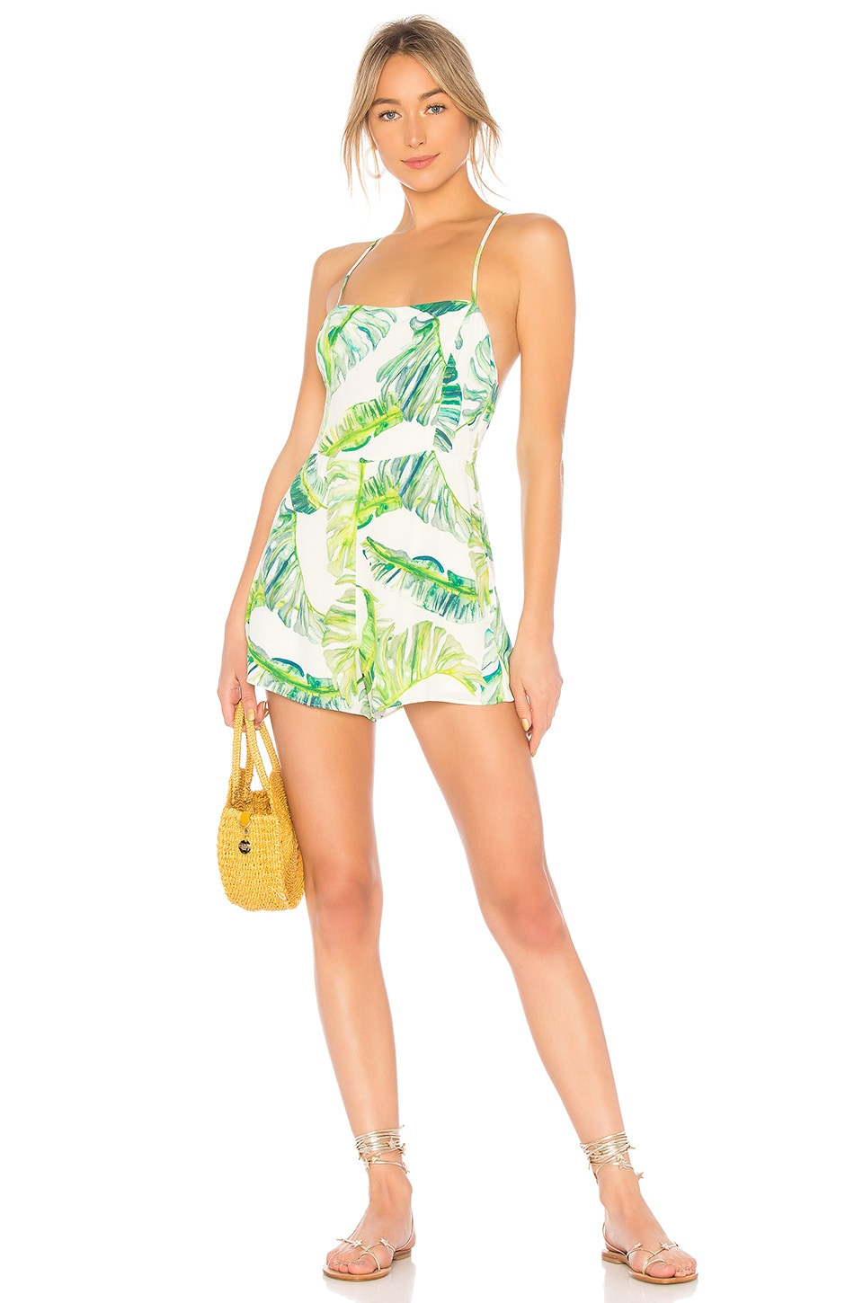 Privacy Please Benfield Romper in Green Palm