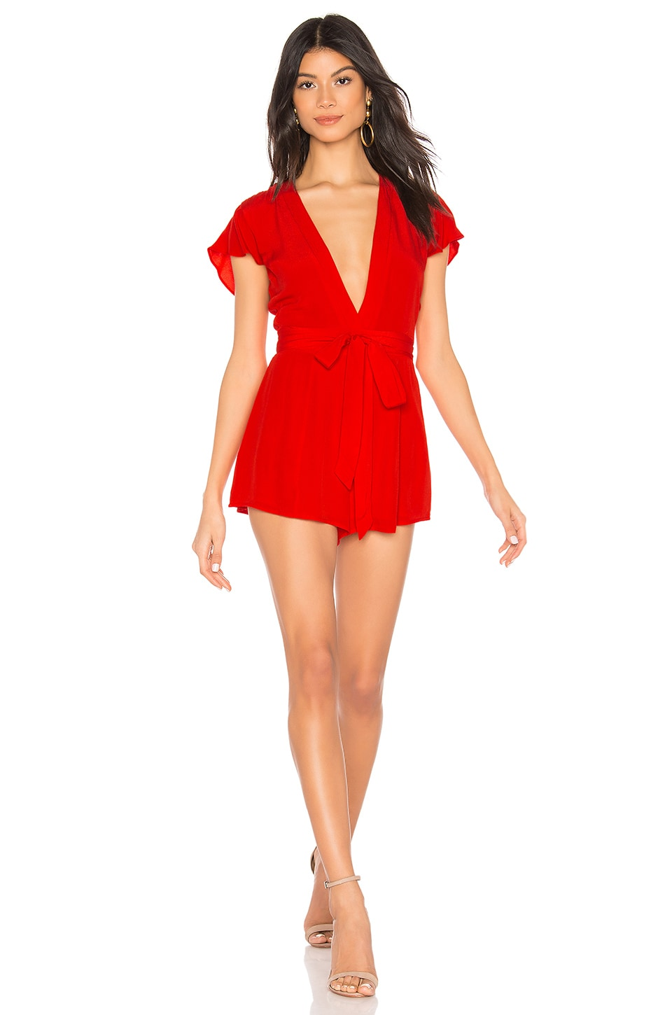 Privacy Please Goodwin Romper en Red Orange