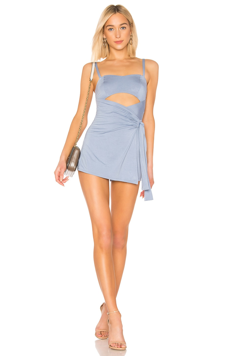 Privacy Please Haven Romper in Light Blue